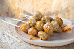 Grilled meat ball with sweet spicy sauce Royalty Free Stock Image
