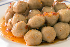 Grilled meat ball with sweet spicy sauce Royalty Free Stock Photography