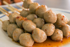 Grilled meat ball with sweet spicy sauce Stock Photography