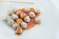 Grilled meat ball on white background Stock Photos