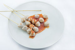 Grilled meat ball on white background Stock Images