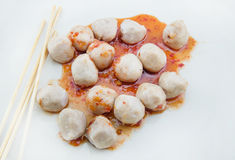 Grilled meat ball on white background Stock Photo