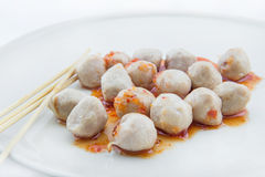 Grilled meat ball on white background Royalty Free Stock Photo