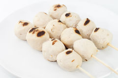 Grilled meat balls. Grill meat balls on white dish and white blackground Stock Photography