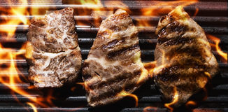Grilled meat. Meat on Barbecue Grill Flames stock photos