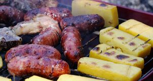 Grilled meat barbecue with polenta and sausages 19 Royalty Free Stock Images