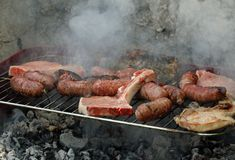 Grilled meat barbecue with pork and sausages 2 Stock Photography