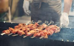 Grilled meat on barbeque Stock Photo