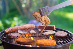 Grilled meat on bbq Royalty Free Stock Photography
