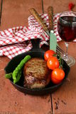 Grilled meat beef steak with vegetable garnish Stock Photos