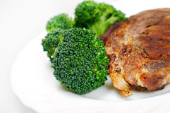 Grilled meat with broccoli Royalty Free Stock Photography