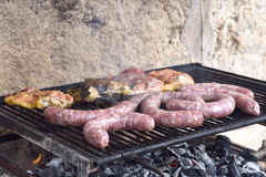 Grilled meat. And chicken sausage Royalty Free Stock Photography