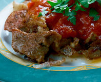 Grilled meat with chili sauce Stock Photo