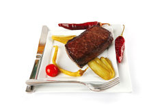 Grilled meat chunk with vegetables Royalty Free Stock Photography