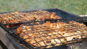 Grilled meat close up stock video
