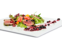 Grilled meat with cranberry and blackcurrant sauce Royalty Free Stock Photos