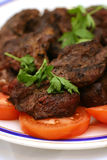 Grilled meat on dish. Grilled meat with tomatos on dish Stock Image