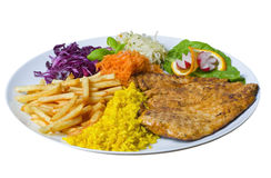 Grilled meat with freshness salad and rice. Grilled meat; freshness salad; rice; French fries stock image
