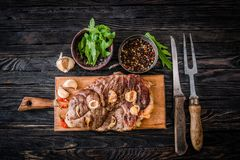 Grilled meat on a table royalty free stock photo