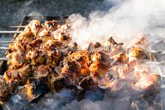 Grilled meat, Golden pork with skewers and wooden handles. A lot of smoke in the process of cooking fragrant meat dishes in nature stock photo