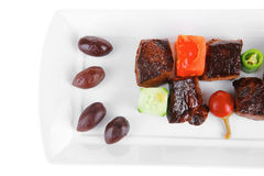 Grilled meat goulash on white Stock Photography