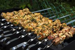 Grilled meat in a green garden stock photos