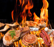 Grilled meat on the grill Stock Photos