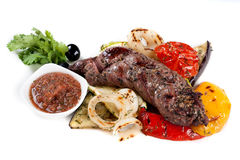 Grilled meat and grilled vegetables Royalty Free Stock Photo