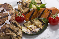 Grilled meat with grilled vegetables Stock Photo