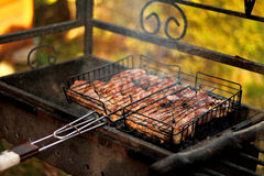 Grilled meat. Juicy meat roasted on the grill Stock Photography