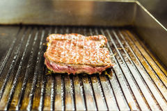 Grilled meat. Juicy steak from beef - soft focuse Stock Photography