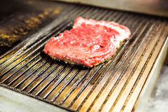 Grilled meat. Juicy steak from beef - soft focuse.  Royalty Free Stock Image