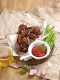 Grilled meat (kebab) Royalty Free Stock Images
