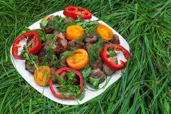 Grilled meat (kebab) and vegetables Stock Photo