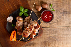 Grilled meat (kebab) with vegetables and  sauce Royalty Free Stock Images