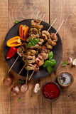 Grilled meat (kebab) with vegetables and  sauce Stock Photography
