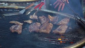 Grilled meat on a large grill. Barbecue, picnic. Video HD Slow motion stock footage