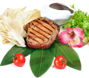 Grilled meat with lavash Stock Image