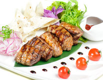 Grilled meat with lavash Royalty Free Stock Images