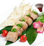 Grilled meat with lavash Stock Photos