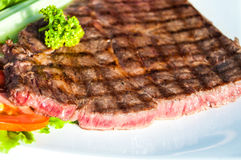 Grilled Meat Miho Akasaka Steak on the white plate Royalty Free Stock Image