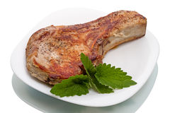 Grilled meat and mint Royalty Free Stock Images