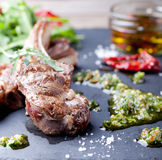 Grilled meat, mutton, lamb rack with fresh salad. Royalty Free Stock Image