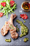 Grilled meat, mutton, lamb rack with fresh salad. Stock Images