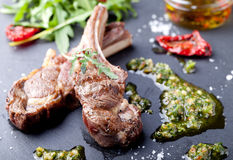 Grilled meat, mutton, lamb rack with fresh salad. Royalty Free Stock Photography