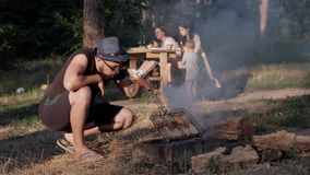 Grilled meat in nature with friends. stock video footage