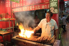 Grilled meat at the night food market in Beijing Royalty Free Stock Image