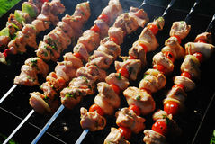 Grilled Meat On Metal Skewers Stock Photography