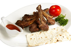 Grilled Meat On The Bone With Cake (lavash) And Dr Stock Images