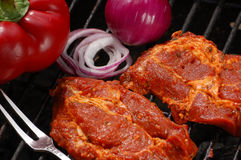 Grilled meat with onion and pepper Stock Images